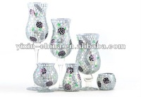 Flower Pattern Mirrored Mosaic Crystal candle holder