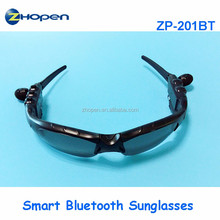 2016 new sunglasses with bluetooth phone, music player,smart monitoring sunglasses zp201bt