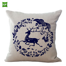 The Latest Design Chinese Style Vintage Cushion Covers Square Porcelain Pillows Decorate