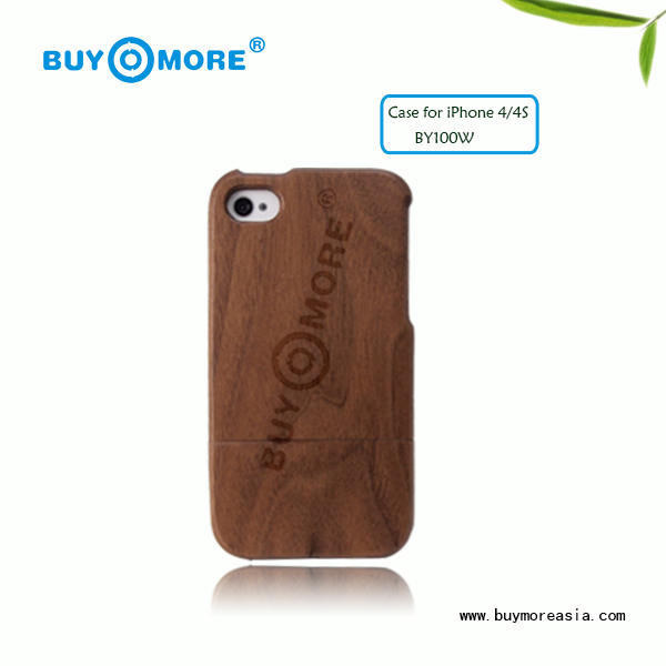 TOP sale hard for iphone 4/4s walnut wooden case
