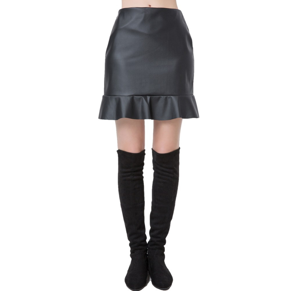 Chic PU Solid Color Mini Frill Hem OL Casual Slim Skirts for Women