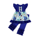 children blue color clothing set girl daily casual colorful printing clothing set