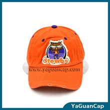 customized new style 100% cotton applique embroidered 135 washed baseball cap