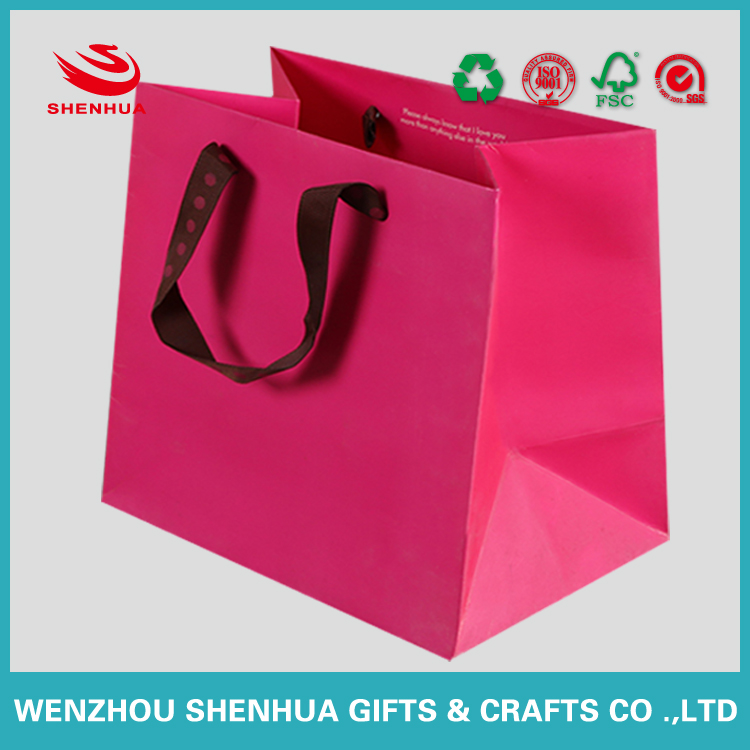 square bottom lamination paper packaging bag with handles