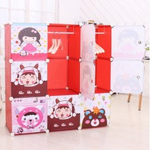 New style 9 cubes pp cupboard with cartoon armoire designs bedroom cupboards design (FH-AL0031-9)