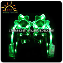Blinking Gifts Fashionable Light Up LED Flashing Shamrock Sun Glasses for Man, Multi Colored Plastic Glasses