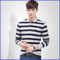 oem service wholesale striped men's long sleeves collar polo t-shirt