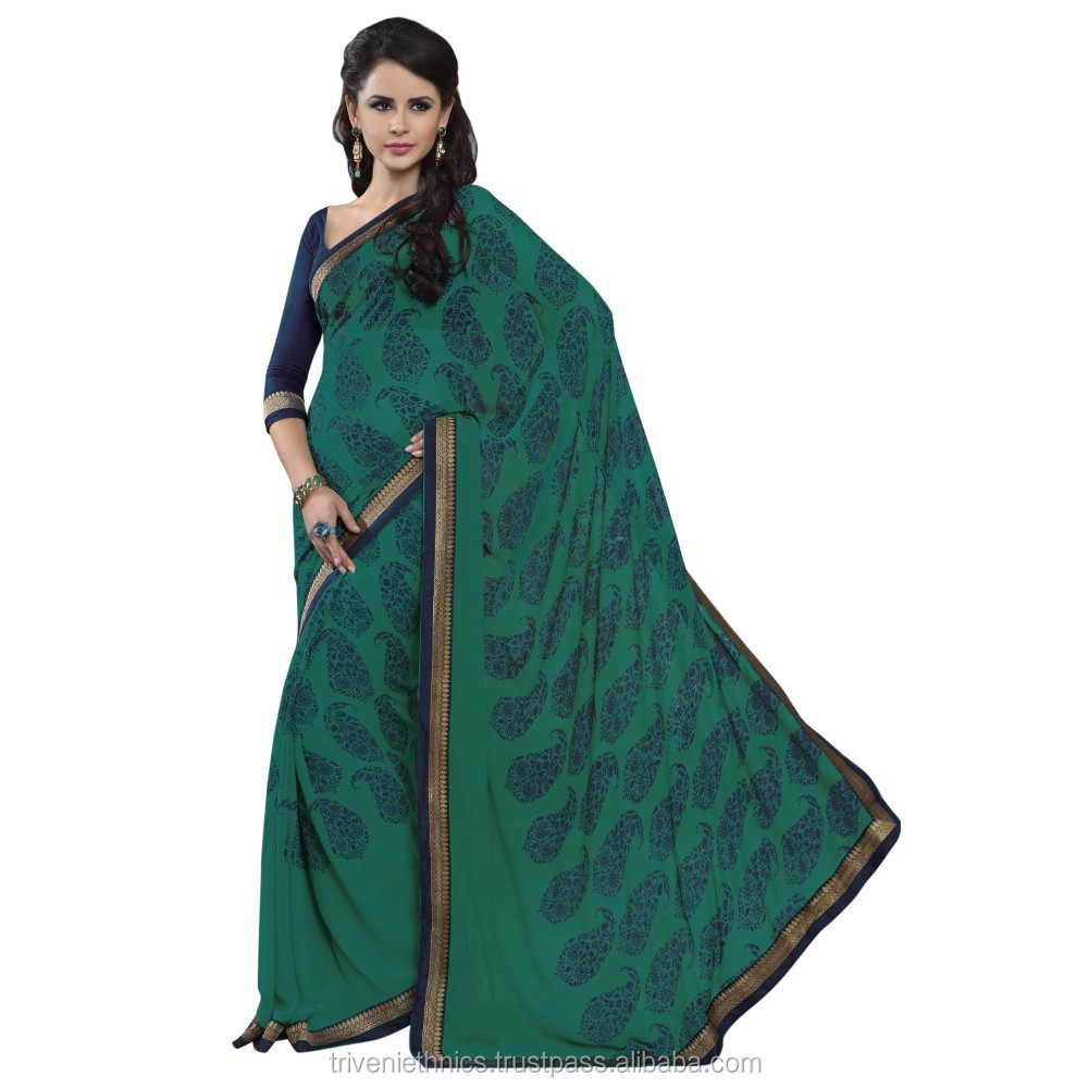 Lovely Green Indian low price Saree