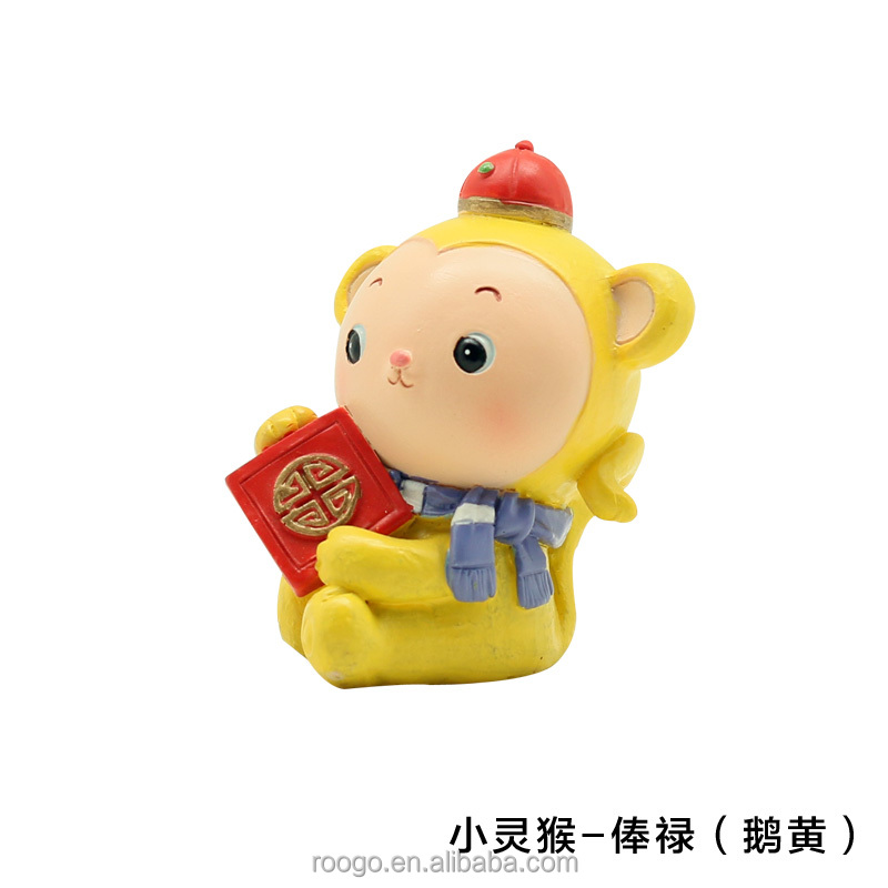 Roogo resin china new year cartoon funny yellow lucky baby monkey figures for kids toy