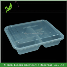 Custom logo 3 compartment microwave resealable food container