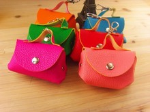 New 2016 Free Shipping wholesale /12pcs / lot Sweet Candy Color PU Change Purse & Wallet / Bag Key