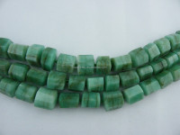 Precious Stones Emerald Green Pillar beads16 inches per strand