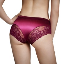 1855 Women Traceless Satin Sexy Lace Underpants Seamless Ice Silk Panties <strong>Underwear</strong>