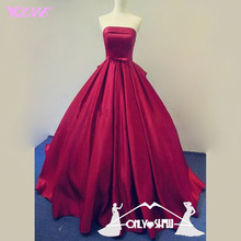 Yqlanbridal Wine Red Ball Gown Evening Dresses Strapless Satin Lace Up Formal Women Party Dress