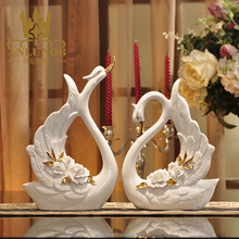 Liquid Gold Porcelain Swan Statue Hand Painted Ceramic Swan Sculpture Marry Couple Swan Figurine Wedding Romantic Gift