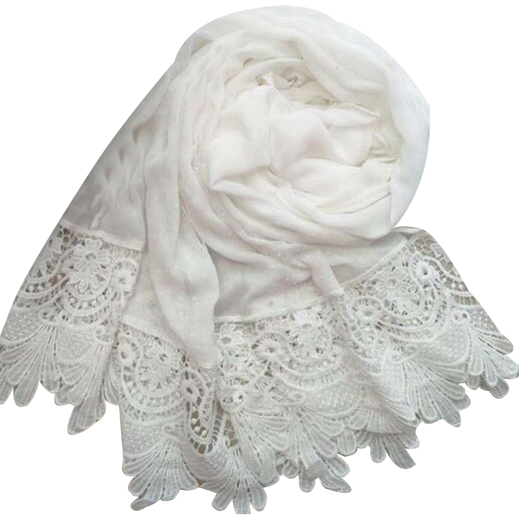 Wholesale hot selling white pearls hijab scarf muslim women cotton lace hijab