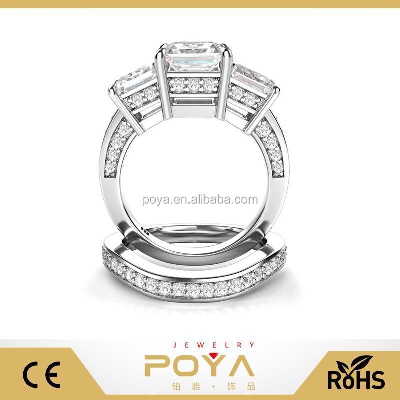 POYA Jewelry 925 Sterling Silver Princess Cut Cubic Zirconia CZ Bride Wedding Engagement Bridal Ring Set