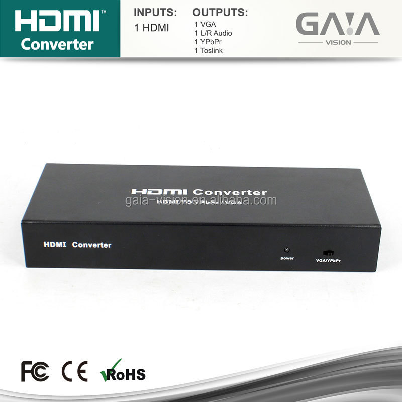 NEW HDMI to YPbPr+SPDIF+VGA hdmi Converter with extra VGA/AV In (720P/1080P)UP-SCALER