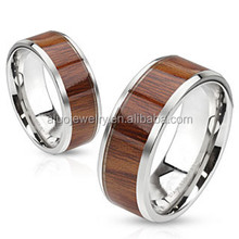 Rosewood Manor-Rose wood grain inlayed stainless steel band wood ring