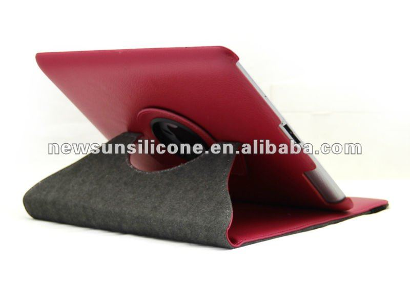 360 degree rotation pu leather case for ipad 2/3