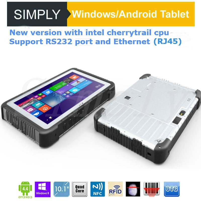 Simply T10 10 inch windows 7 tablet pc with rj45 port 4+64GB 10000MAH 2+5MP WIFI GPS 1D 2D FINGERPRINT NFC reader