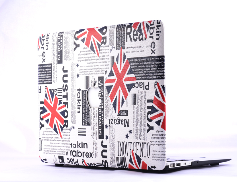 UK flag pu leather hard case for macbook case book