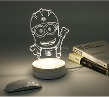 Newest Design Creative Cartoon 3D Acrylic Led Night Light Factory