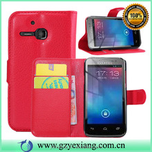 Litchi Grarin Leather Phone Case For Alcatel One Touch M Pop Flip Cover