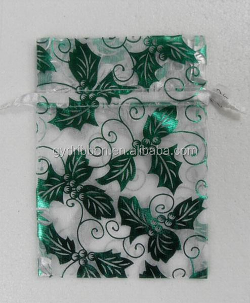 Christmas Tree/LEAF Pattern Printed Green Color Organza POUCH for Gift packing
