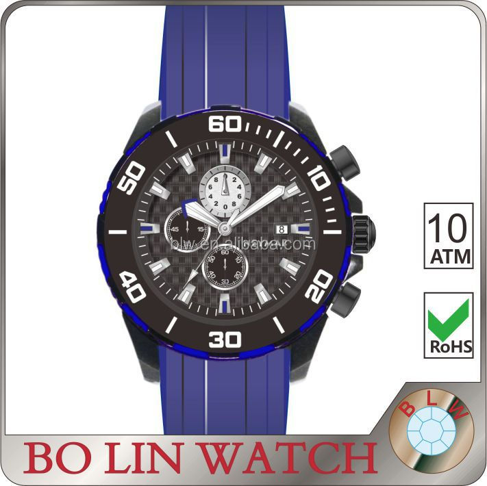 Rubber Strap Chronograph Watch Titanium Case Watch waterproofness