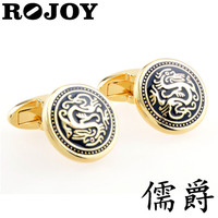 Plating Gold Color Best Price Free Sample Vintage Antique Style Dragon Black Oiling Design Men's Cufflinks For Shirt
