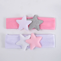 Pink Grey Double Stars Newborn Headband Children Hair Accessories Purified Cotton Baby Photo Prop