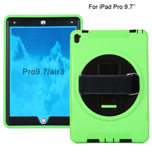 HOT 3 in 1 shockproof protective case for iPAD Pro 9.7'' with shoulder strap , PC+TPU tablet cover for iPAD pro 9.7 inches