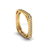 14K Solid Yellow Gold Wedding Band Eternity Ring