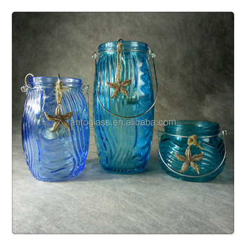 Blue Glass Candle Holders With Handle and Jute Tied Metal Starfish deco