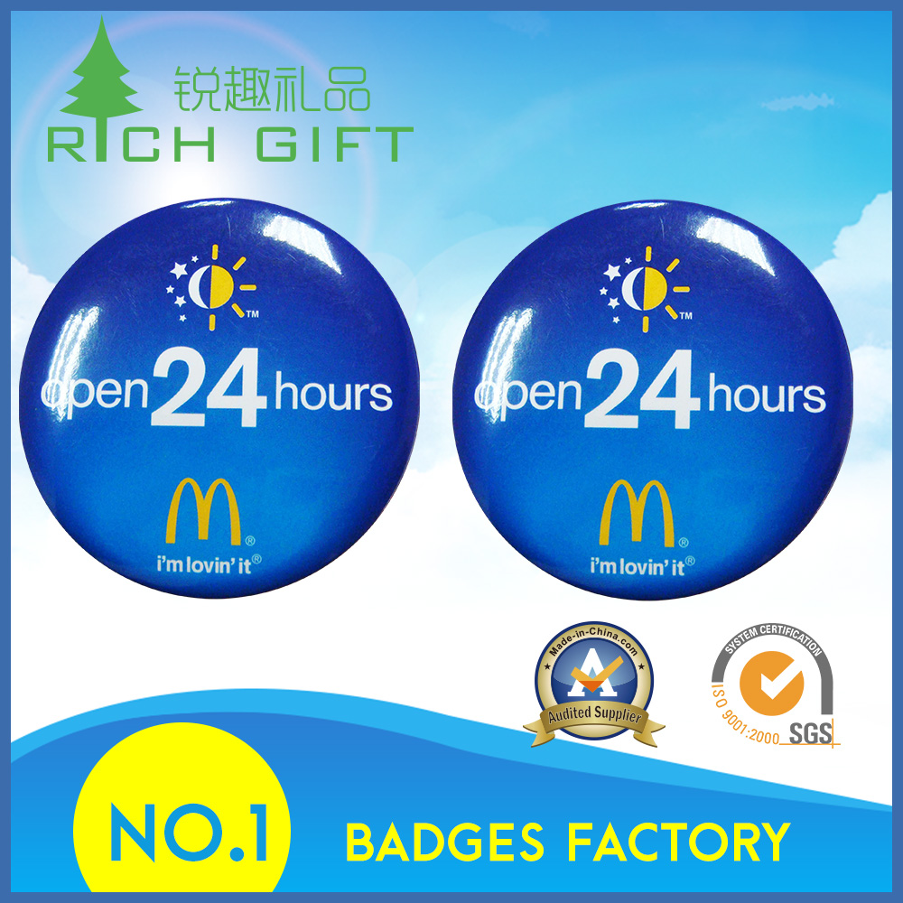 Wholesale cheap souvenir flashing blank button badge 58mm with your own design