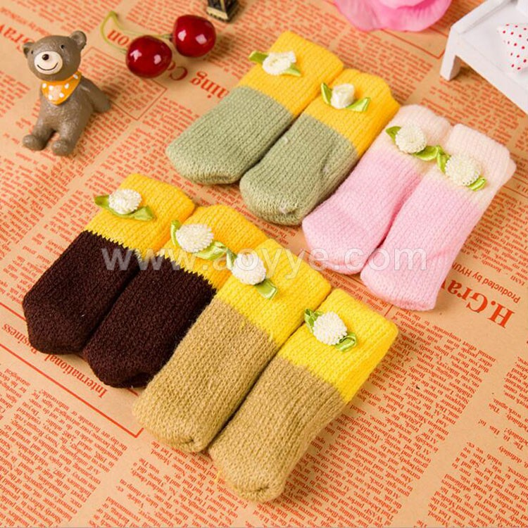 Wholesale new fashion cute brown furniture table and chair knitting wool leg cover socks protectors for wood floor