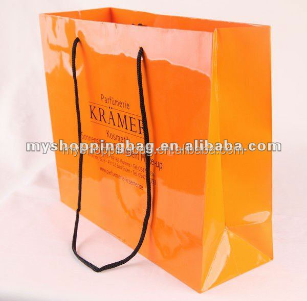 orange flashing coated shopping manufacture human engineering art paper bag