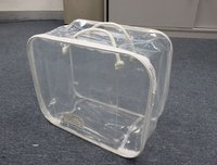 clear pvc handle bed packing bag with zipper