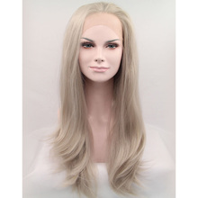 Free Shipping Affordable 18 Inch Light Grey Straight Natural Wavy Synthetic Hair Lace Front Wig for White Young Pretty Girl