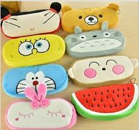 fashion pencil cases Soft Fun Plush Purse Cartoon Coin Animal Cute Bag