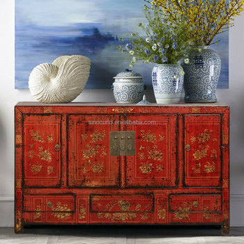 Antique Chinese furniture dinning room sideboard cabinet hand painted