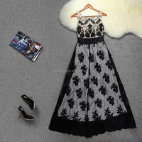 new design wholesale European style sexy print casual lace dress