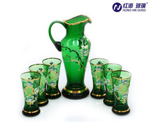 wholesale drinking dinner water glass jug set with gold paint and green color water gold rimmed mugs 0147H/0532B