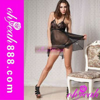 Elegant womens black hot ladies sexy nighty wear
