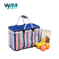 2017 Latest 34L Folding Aluminum Alloy Picnic Basket Stripe Large Food Delevery Cooler Bag