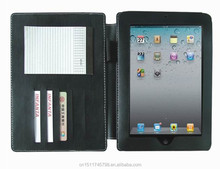 Black Leather Portfolio Case for iPad with Conference Writing Pad