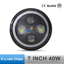 7 Inch Round Led Headlight High/Low Beam Head Lamp With Angel Eye for JEEP