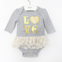 new design pretty lace letter love set drill baby girls dresses