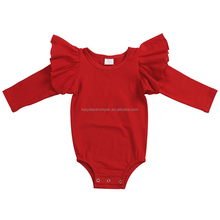 hot sale red solid color long sleeve baby romper wholesale toddlers clothes blank infant rompers